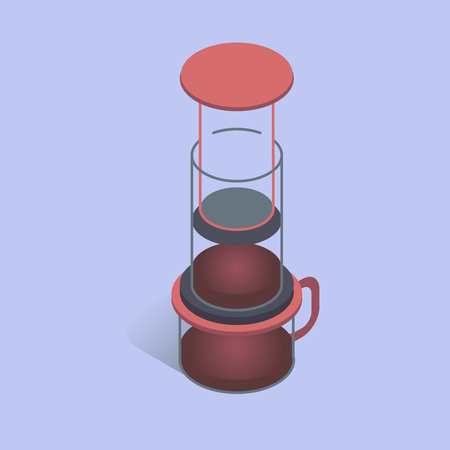 Vector illustration with 3D coffee aeropress. Coffee maker in isometric flat style Illustration