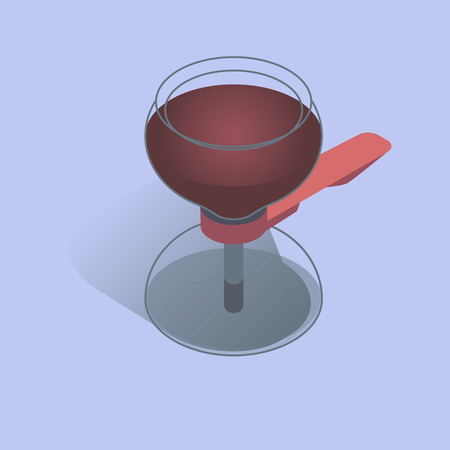 Vector illustration with 3D vacuum coffee maker in isometric flat style