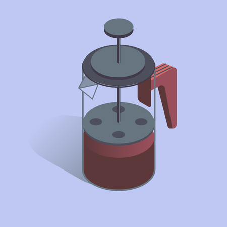 A Vector illustration with 3D coffee pot FRENCH PRESS. Coffee maker in isometric flat style
