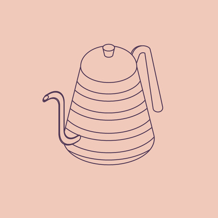 Vector illustration thin line sketch with 3D coffee or tea pot. Kettle in isometric flat style Ilustração