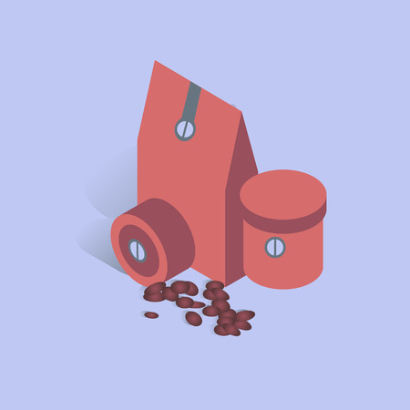 3D coffee present box with beans in isometric flat style vector illustration. Illustration