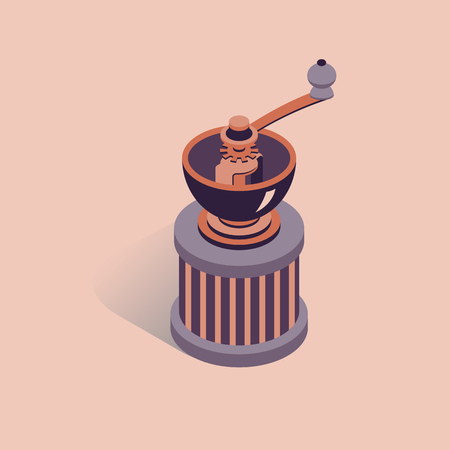 3D coffee grinder vector illustration. Coffee mill in isometric flat style. Ilustração