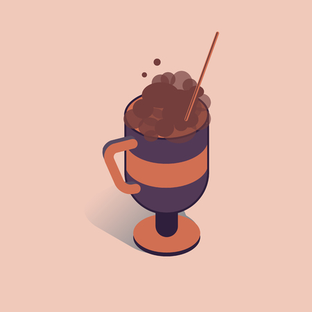 3D coffee cup with cappuccino and tubule vector illustration. Coffee container in isometric flat style.