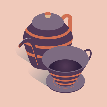 3D coffee or tea pot with cup vector illustration. Kettle in isometric flat style on pink background.