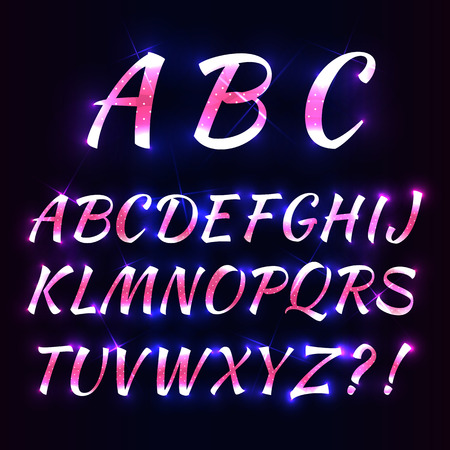 Neon alphabet letters with polka dots. Vector illustration.