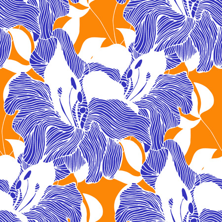 wite: Abstract seamless hand painted background. Isolated blue flowers and wite leaves on orange bacground. Vector illustration. Illustration