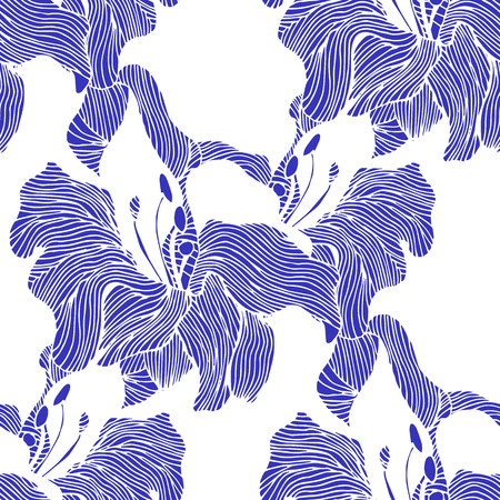 flower decoration: Abstract seamless hand painted background. Isolated blue flowers. Vector illustration. Illustration