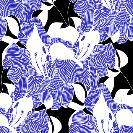 wite: Abstract seamless hand painted background. Isolated blue flowers and wite leaves on black background. Vector illustration.