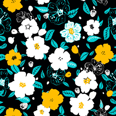 marguerite: Abstract seamless pattern avec des fleurs color�es isol�es. Vector illustration.