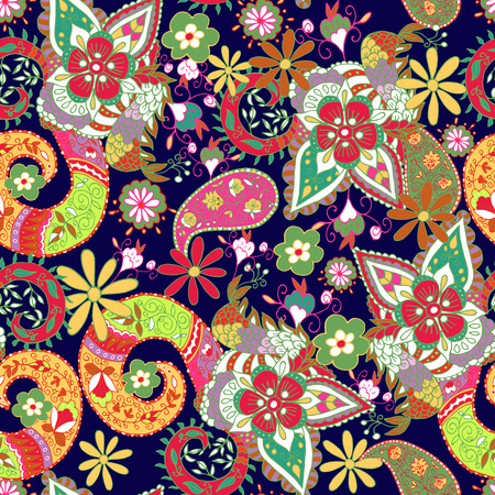 paisley seamless pattern: Seamless Paisley hand drawn background. Isolated colorful flowers and leafs. Vector illustration.