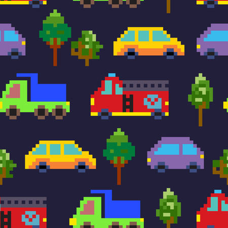 Pixel art traffic seamless vector pattern.
