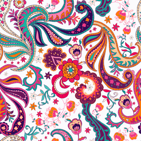 Senza soluzione di continuità mano Paisley sfondo disegnato. Isolato fiori colorati e foglie. Illustrazione vettoriale. Archivio Fotografico - 45325274