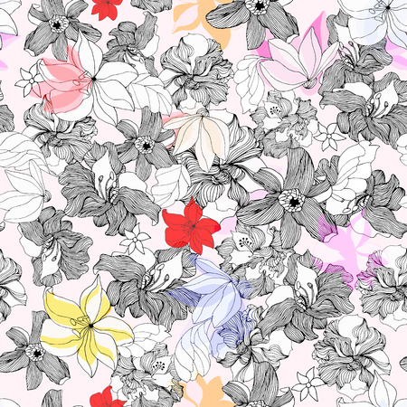 Abstract seamless pattern with isolated flowers. Vector illustration.