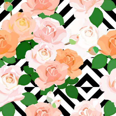 green flowers: Abstract Geometric seamless pattern with beautiful roses. Vector illustration.