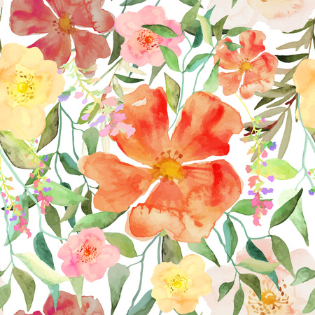 flower meadow: Vector illustration of floral seamless. Red and yellow isolated flowers and hanging foliage on a white background, drawing watercolor. Editable isolated elements. Illustration