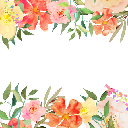 dessin fleurs: Carte de voeux, d'invitation, bannière. Cadre pour votre texte avec floral fond d'aquarelle. Éléments isolés modifiable. Vector illustration.