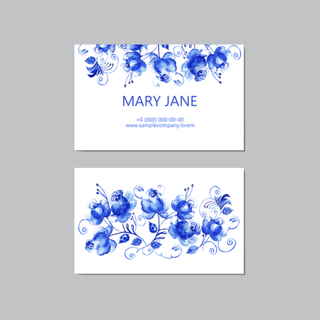 invitation frame: Set of business cards with blue watercolor floral background. Hand drawn composition for business cards or gift tags with space for company name. Vector illustration.