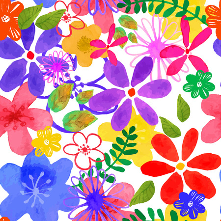 flower fields: illustration of floral seamless. Illustration