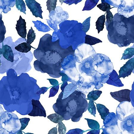 hibiscus flowers: Mano astratta acquerello senza soluzione di continuità sfondo dipinto.