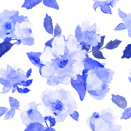 rose petals: Abstract seamless watercolor hand painted background. Isolated blue roses with leaves. Vector illustration.