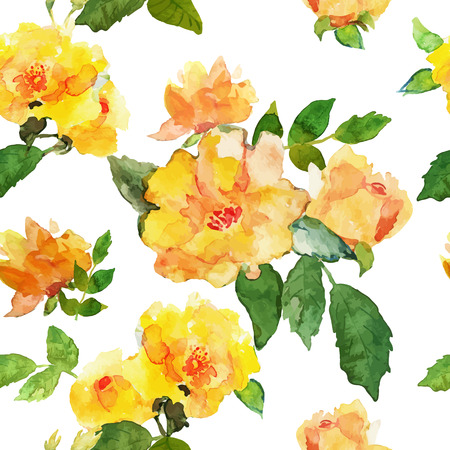 yellow flower: Abstract seamless watercolor hand painted background. Isolated yellow roses with leaves. Vector illustration.