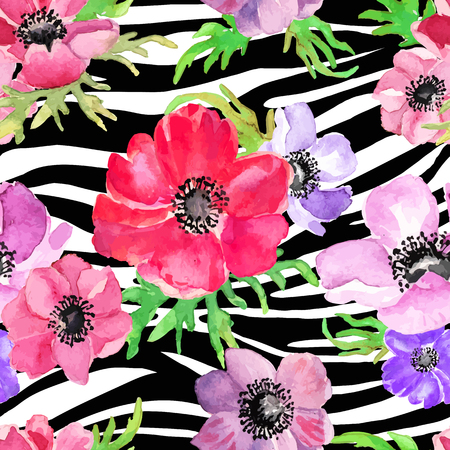 zebra skin: Abstract Geometric seamless pattern whith flowers drawing watercolor. Vector illustration.
