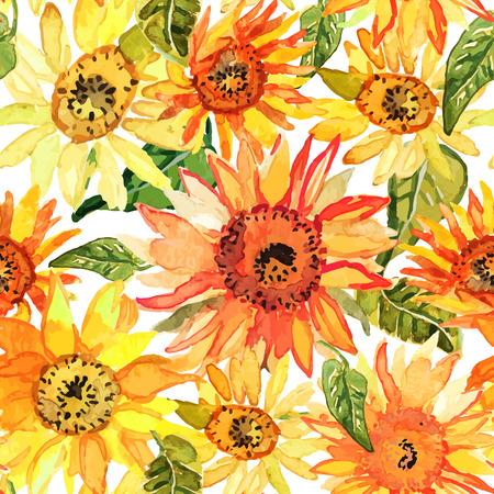 sunflowers: Vector illustration of floral seamless. Illustration