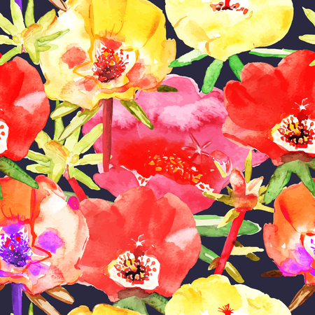 jaune rouge: Abstract seamless watercolor hand painted background. Isolated red, yellow, flowers. Vector illustration.