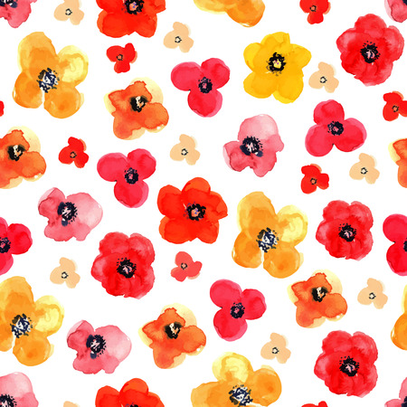 red poppies on green field: Vector illustration of floral seamless. Red and yellow isolated poppies on a white background, drawing watercolor. Illustration