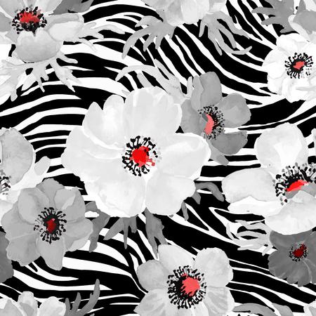 Patrón de cebra geométrica abstracta sin fisuras con flores blancas y grises dibujo acuarela. Ilustración del vector.