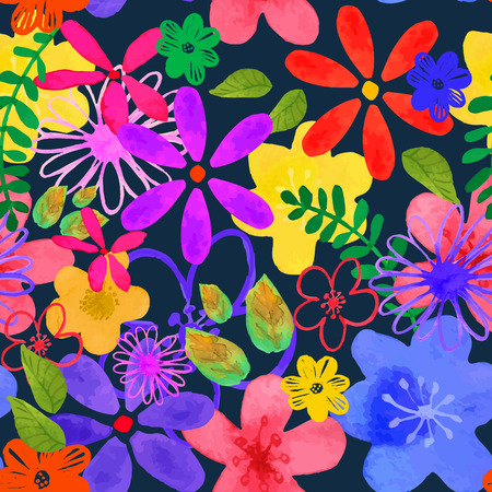Vector illustration of floral seamless. Isolated yellow, pink, purple , lilac, blue flowers and green leaves on a dark blue background, drawing watercolor
