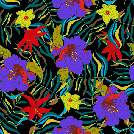 Abstract seamless pattern with colorful isolated flowers and leaves on black bacground. Vector illustration. Illustration