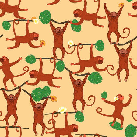 animal texture: Seamless animal texture with monkey and palm leaves and tropical flowers. Vector illustration. Illustration