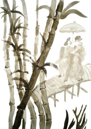 작은 숲: Watercolor bamboo grove with a couple under umbrella, hand drawn vector illustration