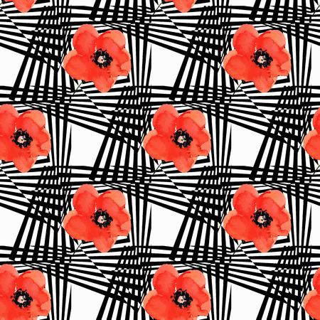 rosas negras: Resumen patrón geométrico transparente con flores, dibujo acuarela. Vector.