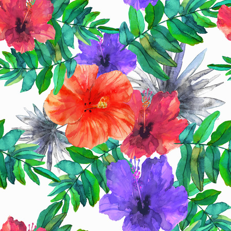 Abstract seamless watercolor hand painted background. Tropical red, orange and purpur hibiscus flowers and green fern and gray palm leaves. Vector illustration.