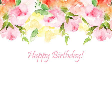 Greeting card, invitation, banner. Frame for your text with floral watercolor background. Vector illustration.