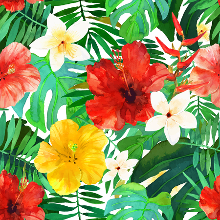 Abstract seamless watercolor hand painted background. Tropical red, orange and yellow hibiscus flowers and green palm leafs. Vector illustration. Illustration