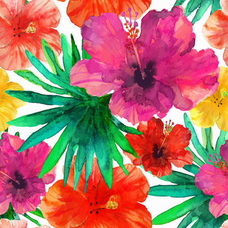 Abstract seamless watercolor hand painted background. Tropical red, orange hibiscus flowers and green palm leaves. Vector illustration.