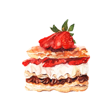 cake decorating: Vector illustration. Hand drawn isolated cake with watercolor texture. Cake with cream, jam, strawberries, puff pastry. Hand painted sweet cake on white background.