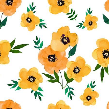 amapola: Ilustración del vector del grupo seamless.Yellow floral y amapolas aisladas sobre un fondo blanco, dibujo acuarela. Vectores