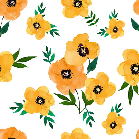 poppy field: Vector illustration of floral seamless.Yellow group and isolated poppies on a white background, drawing watercolor.