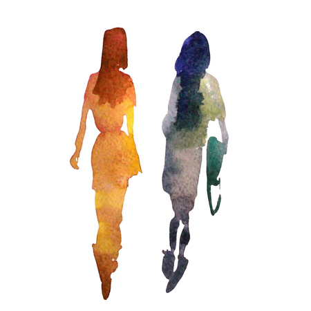 Colorful silhouettes of people. Watercolor background with silhouette of women. Stylish silhouette. Illustration