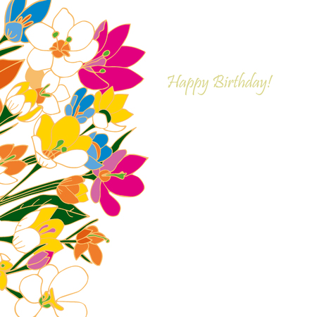 flower fields: Greeting card, invitation, banner. Frame for your text with floral background. Vector illustration.