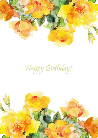 greeting card background: Greeting card, invitation, banner. Frame for your text with floral watercolor background. Vector illustration.