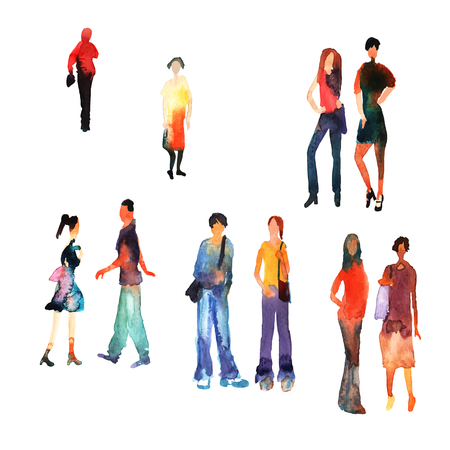 men and women: Colorful silhouettes of people. Watercolor background with silhouette of men, women, boys and girls. Stylish silhouette.