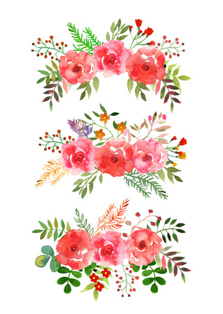 Vector flowers set. Colorful floral collection with leaves and flowers, drawing watercolor.Design for invitation, wedding or greeting cards