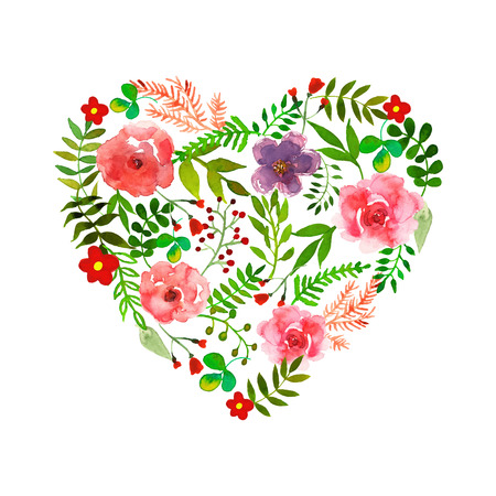 Floral heart with isolated flowers, herbs and leaves. Watercolor.