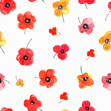 poppy field: Vector illustration of floral seamless. Red and yellow isolated poppies on a white background, drawing watercolor. Illustration