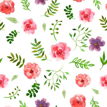 white bacground: Ilustraci�n vectorial de floral transparente. Colorida colecci�n floral con hojas y flores, dibujo de la acuarela en blanco Fundamentos Vectores